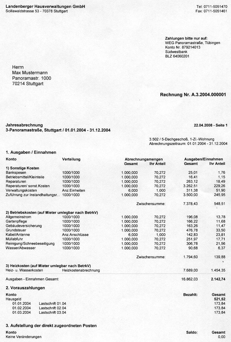 musterabrechnung landenberger hausverwaltungen gmbh. Black Bedroom Furniture Sets. Home Design Ideas